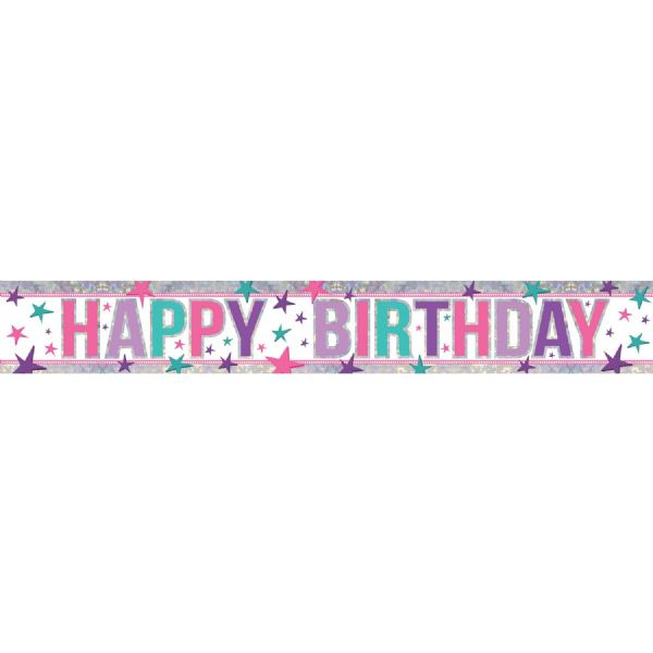 Holographic Pink Happy Birthday Foil Banner